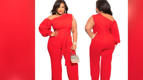 Plus Size One Shoulder Solid Jumpsuit With Belt
