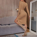 Sexy V Neck Slim Long Sleeve Slit Dress Solid Vintage Dresses Woman 2021 Trending Women Clothes -PT