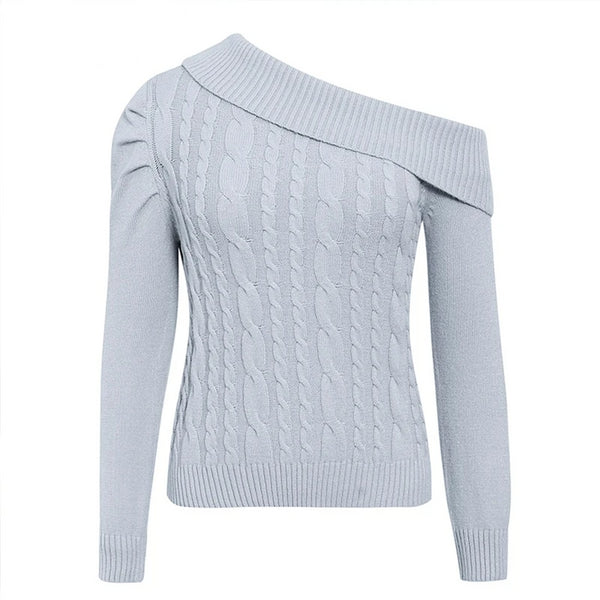 Puff Shoulder Asymmetric Irregular Knit Sweater