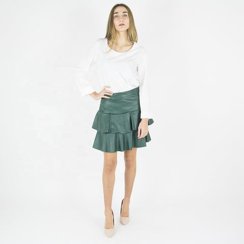 Italian green leather ruffle skirt