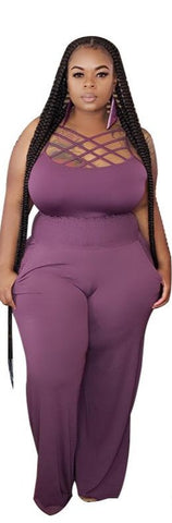 Plus size sexy solid color camisole long pant two pieces set