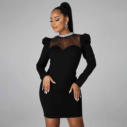 Gauze Patchwork Rhinestone Mock Neck Long Sleeve Dress