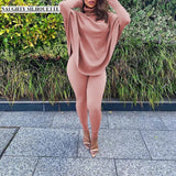 Matching set Plain Slim Fit Flat Pants And Batwing Sleeve Top Set