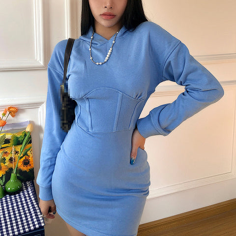 Fitted Waist Hooded Dress
