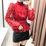 2020 new women elegant tassel decoration elastic waist chic blouses ladies stand collar ruffles smock shirts chemise tops LS6088