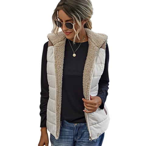 Double side vest with fleece hood, pockets