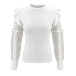 Gauze Patchwork Hollow Out Fitted Lantern Long Sleeve Blouse
