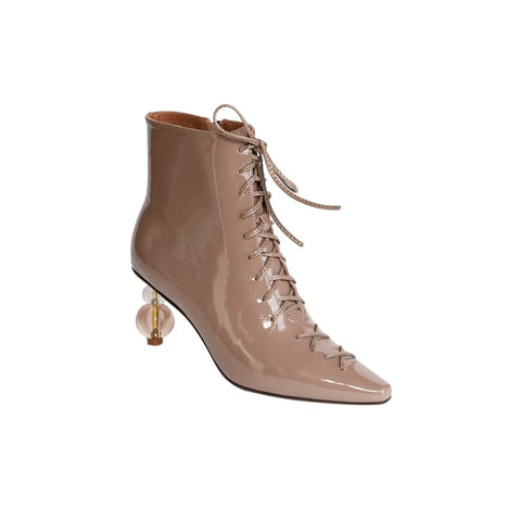 MLJUESE Plush Cowhide Square Toe Zip High Heel Ankle Boots