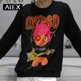 Alex Plein Sweatshirt Men 100% Cotton Rhinestones Cartoon Oversized
