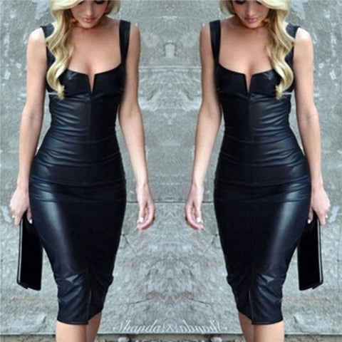 Short black sleeveless dress