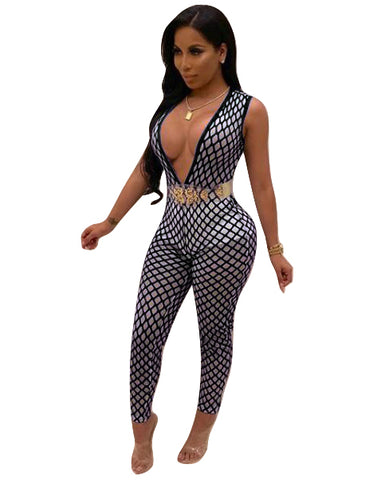 V-neck sleeveless high waist one-piece trousers