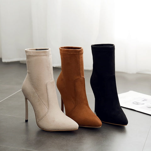 2019 Sharp women's shoe sleeve shows thin women's boots, tacones altos y botas de gamuza, botas elásticas de mujer