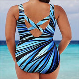 Colorful One Piece Backless Plus Size Swimsuit