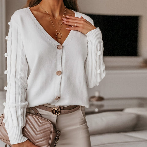 Long Sleeve V-Neck Knit Cardigan