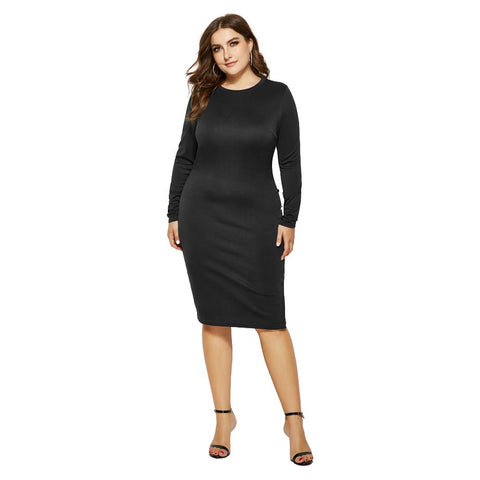 Elegant plus size black bodycon dress