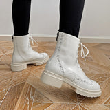 Round Toe Plush Lace Up Cowhide Soft Ankle Boots, High Heel Boots