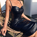 Black Pu Leather Knee Length Bodycon