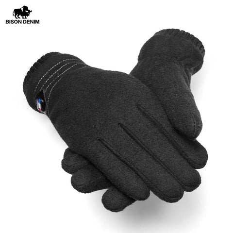 BISON DNEIM Genuine Wool Men's Winter Gloves with Windproof Touch Screen and Thick Fingers