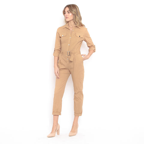 Solid color collar pleated loose long jumpsuit