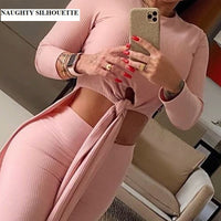Matching set long sleeves and high waist, round neck