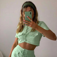 O Neck Short Sleeve Suit Set Women Crop Top and Skirt Two Piece