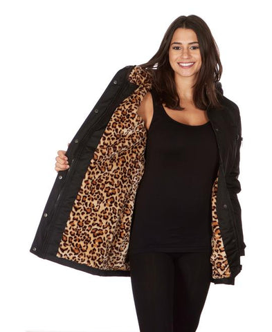 Jackets Winter Lady Women Clothing Coat Leopard Sherpa Lined with Hood