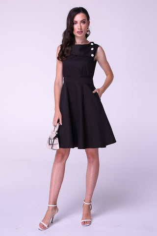 Black Asymmetric Elegant Buttoned A-line Cotton Dress