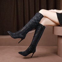 MLJUESE Knee High Boots, Pointed Toe Suede Totem Zippers High Heel