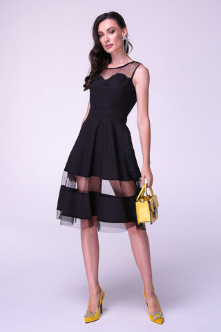 Black Illusion Crewneck Vintage Sleeveless A-line Lace Cotton Dress