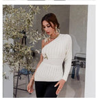 One shoulder white knitted sweater