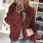 Warm Sweater Women Elegant v Neck Twist Knitted