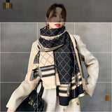Cashmere Iron Tower Winter Scarf, Thick Double-sided Warm Shawl