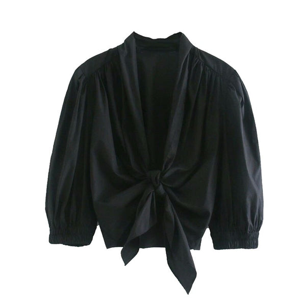 Elastic Trim Ruffled Cropped Blouses Vintage Puff Sleeve Bow Tied