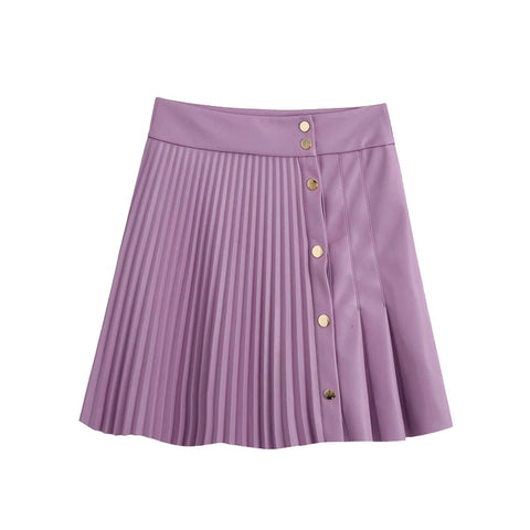 Pleated Faux Leather Mini Skirt Vintage High Waist Snap Button
