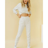 Long sleeve crop top and long pants two-piece set
