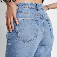 Faded High-Waist Jeans Featuring Five-Pocket Design Ripped Detailing
