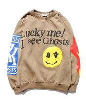 Men's Design Smiley Flame Letter Print Round Neck Sweatshirt Men and Women Couple Tide Plus Velvet Jacket