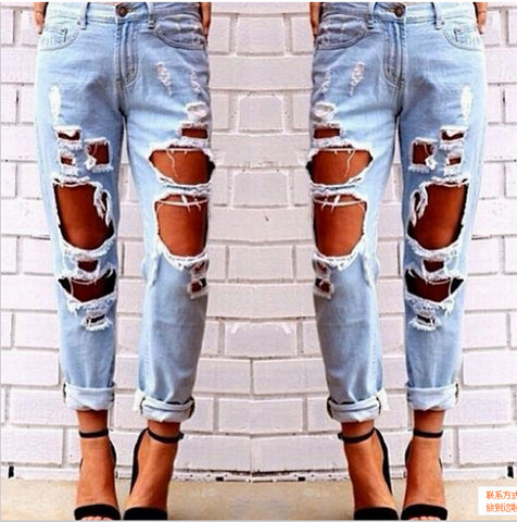 Ripped Jeans Denim Joggers Knee Holes Slim Fit