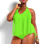 Plus Size One piece Tassels Swimwear