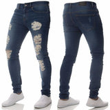 Jeans Slim Hole Washed Denim Blue Pants Skinny Streetwear Hole Trousers