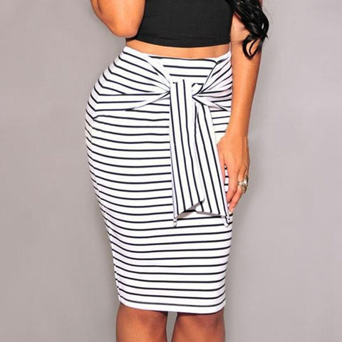 Pencil Skirts High Waist Striped Skirt Plus Size Bodycon