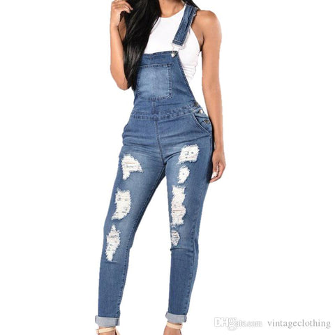 Denim Ripped Hole Long Overalls