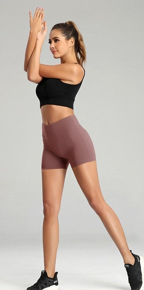 Solid Elastic High Waist Push Up Fitness