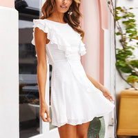 Women Elegant Ruffle Mini Dress Summer 2020 Solid O Neck Ladies Casual Dresses Sleeveless A Line Chic Party Dress Vestidos Mujer