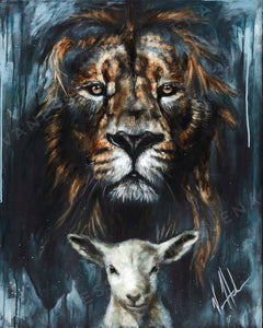 "The Lion and Lamb Passover - 24""x30"" Satin Heavyweight Poster"