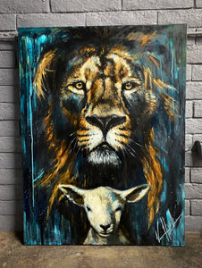 "The Lion and Lamb Passover - 36""x48"""