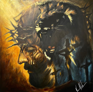 "The Roar of Our Savior - 36""x36"" Original Acrylic Painting"