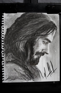 "Prayers of a King - 11""x14"" Original Charcoal Sketch"