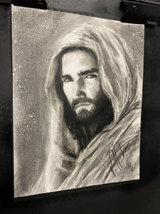"The Gaze of Our Savior - 11""x14"" Original Charcoal Sketch"