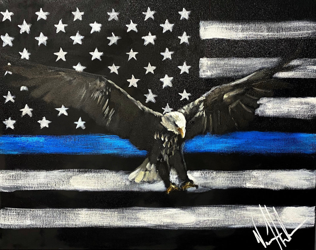 "The Thin Blue Line - 16""x20"" Original Acrylic Painting"